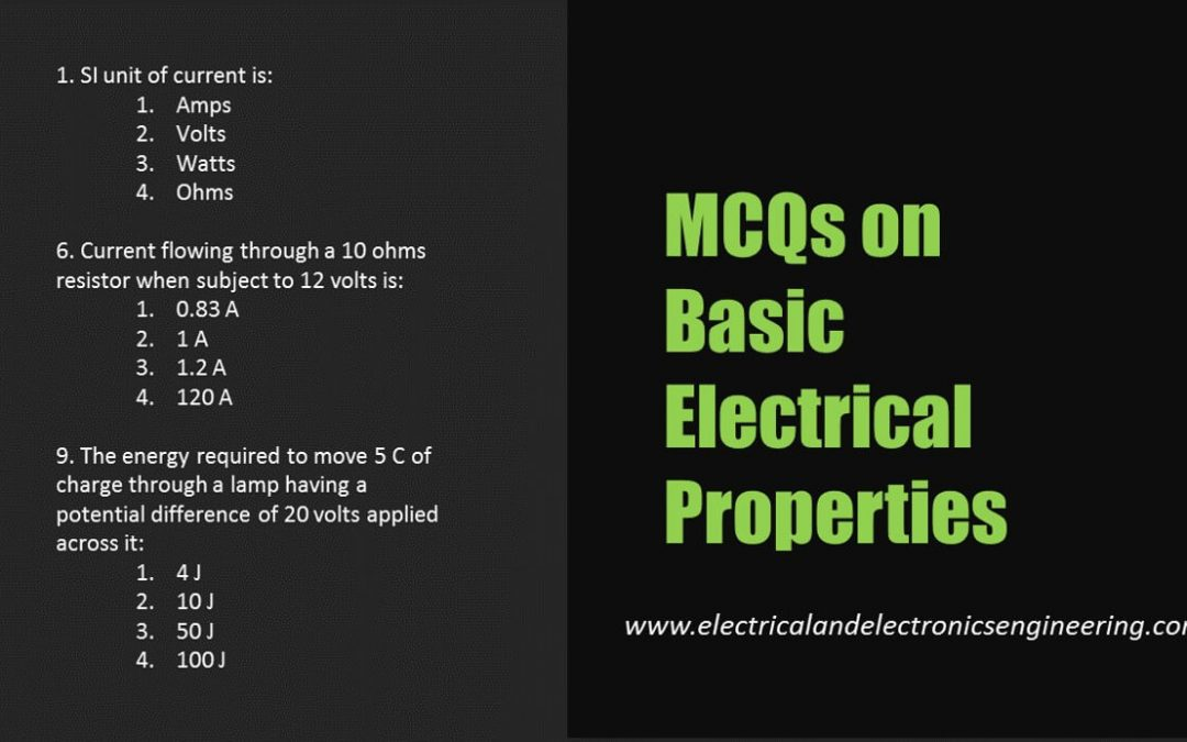 MCQs on Basic Electrical Quantities [Power, Voltage, Current, Resistance]